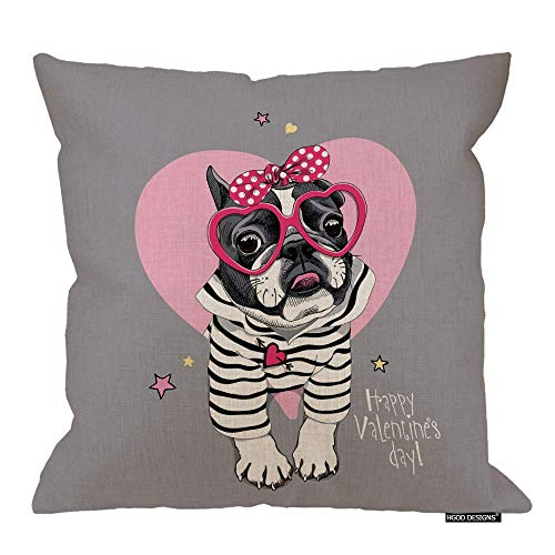 odin sky Bulldogge Wurfkissen, französische Bulldogge in Einer lustigen rosa Herz Brille und mit einem Polka Dot Stirnband dekorative Kissenbezug Baumwolle Leinen Square Throw Pillow Cover, 45X45 cm