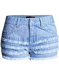 Shorts Pour Femmes Couches Multiples Whisker Couleur Claire Taille Haute Stretch Denim Jeans De Loisirs Jeu De Poche Clubwear Pantalon Chaud En Vrac