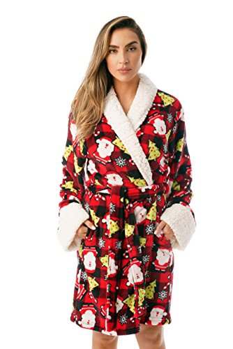 m Plüsch Ugly Christmas Robes für Frauen - - Medium ()