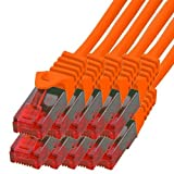 BIGtec - 10 Stück - 3m Gigabit Netzwerkkabel Patchkabel Ethernet LAN DSL Patch Kabel orange (2X RJ-45 Anschluß, CAT.5e, kompatibel zu CAT.6 CAT.6a CAT.7) 3 Meter