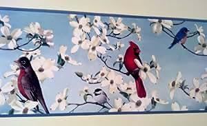"""Tapete, Bordüre, Design """"Birds In Dogwoods Cardinal, Blue Bird (Blau), Blau"""