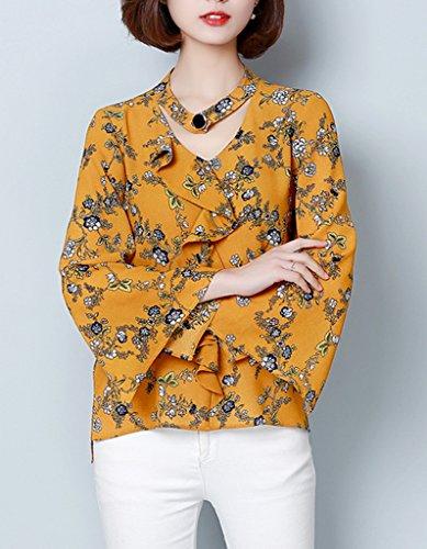 Smile YKK Blouse Col V Femme Mousseline de Soie Chemise T-shirt Top Manche Evasée Eté Mode Jaune
