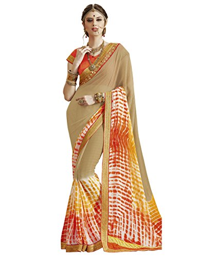 KANCHNAR Women's Beige Color Crushed Georgette Embroidered Saree(164S3513)