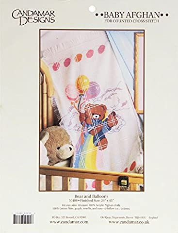 CANDAMAR DESIGNS 29 x 45-inch Baby Afghan Bear and Balloons Counted Cross Stich Kit