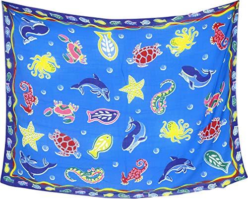 LA LEELA Frauen Strand Bikini Sarong Wickeln Schal Schildkröte Fisch verschleiern Rock Wickeln Mehrzweck Schiere Kleid gedruckt Blau_Y98 43