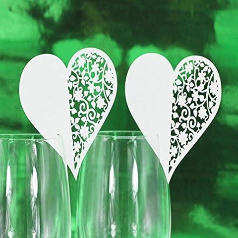 Kolylong Wedding Decoration Nom 50pc Tableau De Mariage De Papier Lieu Carte Escort Card Wine Card Verre (Amour)