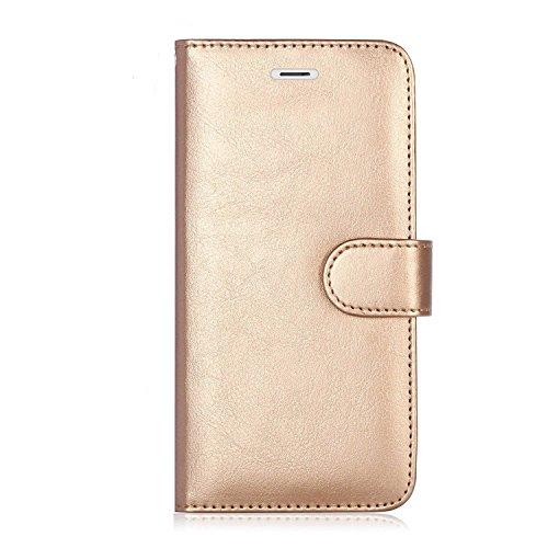 Premium Leder iPhone 7Plus, 8Plus Schutzhülle, RFID blockierende Geldbörse, iPhone 7Plus Wallet Schutzhülle mit Standfunktion Kreditkarte Displayschutzfolie (Gold) (Case Iphone Reader Card Credit)