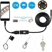 owsoo 6LED 5.5mm Lente del endoscopio IP67Impermeable Inspección boroscopio USB Cable Serpiente Tubo de la cámara 6LEDs para OTG Compatible Android Smart Phones 2m