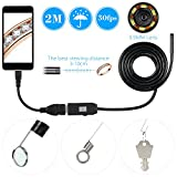 owsoo 6 LED 5.5 mm Lente del endoscopio IP67 Impermeable Inspección boroscopio USB Cable Serpiente Tubo de la cámara 6LEDs para OTG Compatible Android Smart Phones 2 m