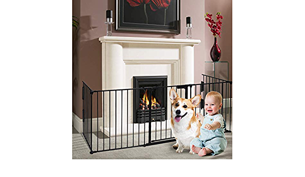 charaHOME 121 Inch Baby Gate Fireplace Fence Baby Safety Gate Adjustable 5-Panel Folding Metal Play Yard for Baby//Pet//Dog Christmas Tree Fence Pet Gates for doorways with Walk Through Door 30 High
