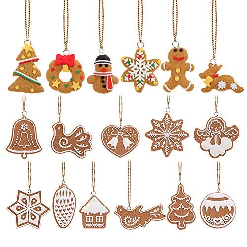 Demiawaking 17pcs ornamento di natale ciondolo pendente in argilla polimerica fatto a mano albero di natale appeso decorazione regalo a forma di animale fiocco di neve biscotti