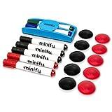 18tlg. Whiteboard Starterset: 7 Marker (schwarz, rot, grün, blau), 10 Magneten (schwarz, rot), 1 Lösch-Schwamm (magnetisch/mit Stiftehalter)