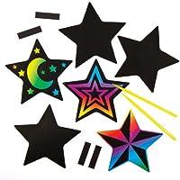 Baker Ross Imanes para rascar con Forma de Estrella Que los Niños Pueden Crear, Personalizar y exhibir como Manualidades Creativas Scratch Art (Pack DE 10).