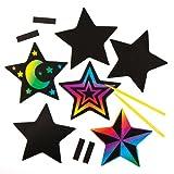 Bastelsets mit sternförmigen Kratzbild-Magneten für Kinder zum Basteln und Verzieren zu Weihnachten - Kreatives Bastelset für die Weihnachtszeit (10 Stück) -