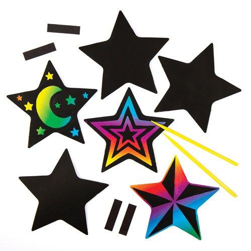 Bastelsets mit sternförmigen Kratzbild-Magneten für Kinder zum Basteln und Verzieren zu Weihnachten – Kreatives Bastelset für die Weihnachtszeit (10 Stück)