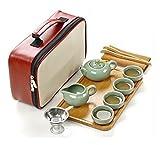 Tragbare Reise Kungfu Keramik Tee Set, traditionelles Chinesisch / Japanisch Art, handgemachte , Ruyao, 10 Stück (Jade Grün)