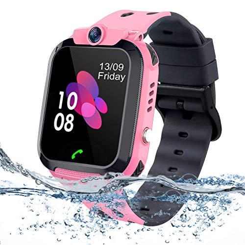 bhdlovely Niños Smartwatch - Reloj de Pulsera Inteligente con Ubicación LBS Reloj Despertador SOS Reloj Digital Cámara Juegos para Niños compatibles iOS/Android(Rose)