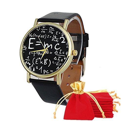 eBijoux 2004 - [EINSTEIN NERO] Bracciale Orologio Unisex da Polso E=mc2 - Elegante Casual Chic Sportivo - Con cinturino regolabile a 6 Clip - Quarzo - Regalo perfetto