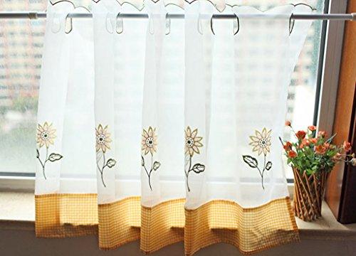 Zhh pastorale style café rideau broderie tournesol fenêtre cantonnière, fleur jaune, polyester, jaune, 60cm x 150cm
