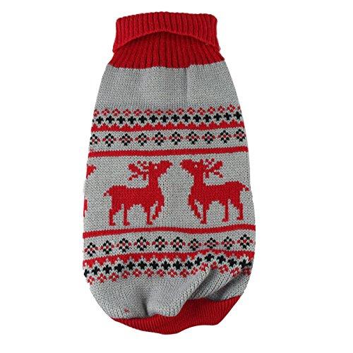 Mode Häkeln Hund Pullover Weihnachten Haustier Welpen warmen Sweatshirt Kleidung für Haustiere Günstige Haustier Kleidung (S, Rot)