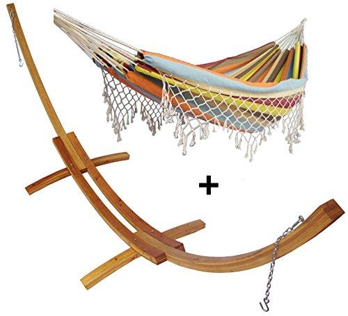 Support demi lune double bois mélèze et son hamac double à franges marron, hamac détente