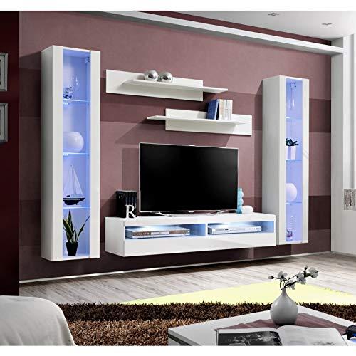 ASM Ensemble Meuble TV Mural - Fly O12-260 x 40 x 190 cm - Blanc