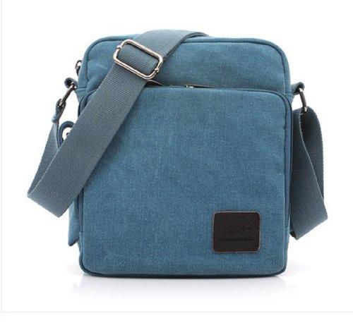 Tonwhar ® Canvas-Schultertasche, Messenger Bag, Aktentasche mit vielen Taschen Blau - Blau