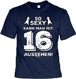 Unbekannt T-Shirt 16 Geburtstag - Geburtstagsshirt Sprüche 16 Jahre : So sexy kann man mit 16 aussehen! - Geschenk-Shirt zum 16.Geburtstag Mädchen/Jungs Gr: L