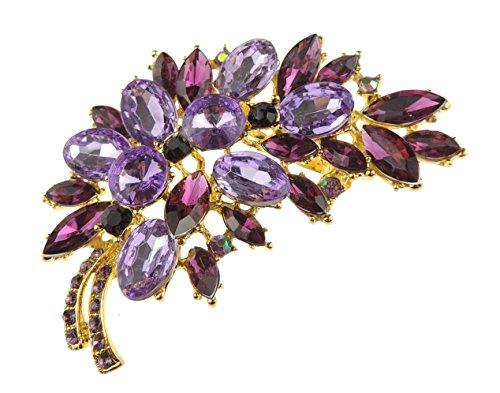 Glamour Girlz Damen Extra schöne prickelnde Blumenstrauß große 7cm Revers Brosche (Gold Lila)