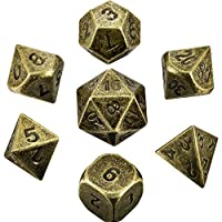 Hestya 7 Pieces Metal Dices Set DND Game Polyhedral Solid Metal D&D Dice Set with Storage Bag and Zinc Alloy with Enamel for Role Playing Game Dungeons and Dragons, Math Teaching (Bronze)