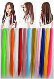HappyBeauty 12Pcs Multi-Couleurs clip droit dans les extensions de cheveux Vente de cheveux 50CM longue couleur colorée Party Highlights Perruques pour femme , A
