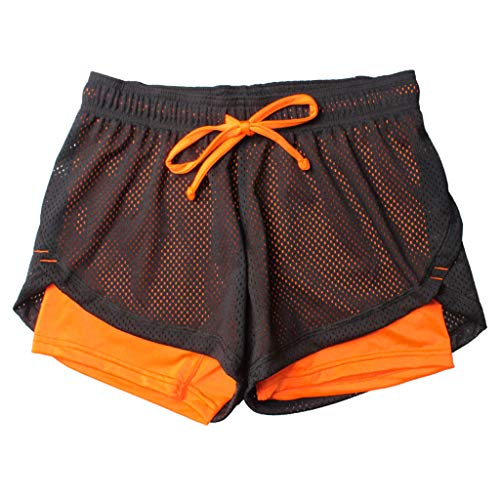 Große Hohe Activewear (cinnamou Doppellagige Yoga-Shorts Damen-Sporthose Anti Emptied Quick-Dry Short Pants Outdoor Fitness)
