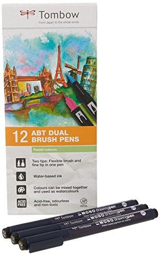 Tombow ABT-12P-2-EFL - Juego de 12 rotuladores de doble pincel (colores pasteles)