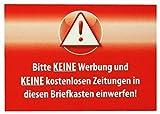 5 x Bitte keine Werbung und Keine kostenlosen Zeitungen in diesen Briefkasten einwerfen! Aufkleber Wetterfest Top Qualität - Rot