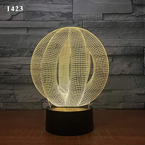 3-D lampe télécommande sept couleurs tactile led lampe Creative Products cadeau nuit lampe résumé anneau, mille quatre cent vingt-trois