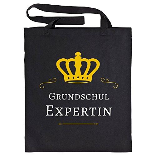 Baumwolltasche Grundschul Expertin schwarz - Lustig Witzig Sprüche Party Einkaufstasche