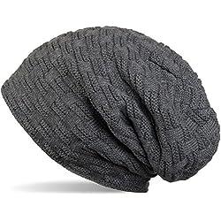 styleBREAKER warme Feinstrick Beanie Mütze mit Flecht Muster und sehr weichem Fleece Innenfutter, Unisex 04024058, Farbe:Dunkelgrau