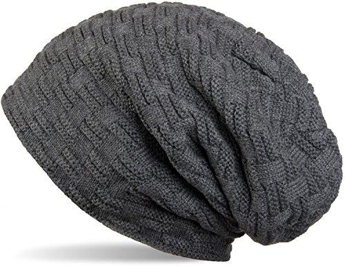 styleBREAKER warme Feinstrick Beanie Mütze mit Flecht Muster und sehr weichem Fleece Innenfutter, Unisex 04024058, Farbe:Dunkelgrau - Aus Mütze Gestrickte Baumwolle
