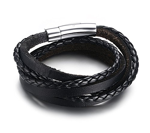 Vnox Genuine intrecciato in pelle delle donne Sovrapposizione Wrap Bracciale con chiusura magnetica nero,18,5 centimetri