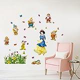 DecalMile Blanche-Neige et Les Sept Nains Stickers Muraux Princesse Fée Décoratifs Amovible Autocollant Stickers pour Chambre Bébé Chambre Enfant Chambre Pépinière