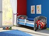 Clamaro 'Fantasia Blau' 180 x 80 Kinderbett Set inkl. Matratze und Lattenrost, mit verstellbarem Rausfallschutz und Kantenschutzleisten, Design: 05 Rennwagen Rot