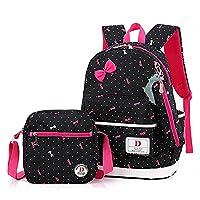 SusuTOP Girls School Backpacks Shoulder Book Bag + Lunch Bag/Pencil Case Set (Black)
