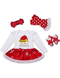 Decstore Bébés Filles Mon 1er Noël Costume Robe de fête Tutu Outfit ensemble 4PCS