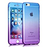 Slynma TPU Cover Silikon Schutzhülle für iPhone 6 6s 4,7 Zoll Transparent Hülle Bumper Case Dual Layer Front Back Blau Violett Touchscreen TPU Stoßfest Shockproof Tasche Slimcase Outdoor Handyhülle