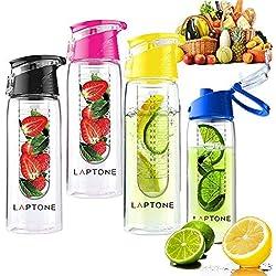 Laptone Botella de agua con el grupo de infusión de frutas está libre de derrames y fugas [agua o zumo] - 750ml sin BPA