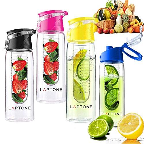 Laptone Trinkflasche mit Früchtebehälter Outdoortrinkflasche 750 mL BPA-Frei bottle - Blau
