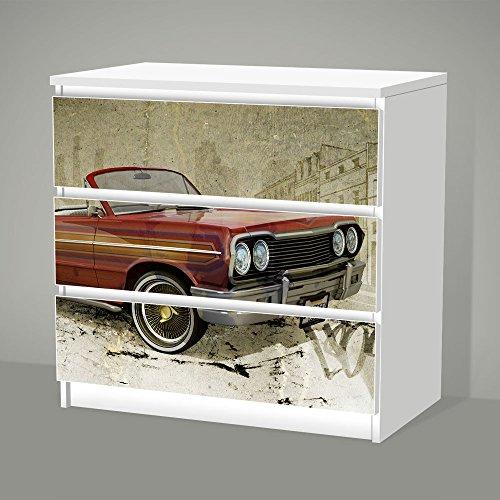 Aufkleber für IKEA Malm - 3 Schubladen -- LO'LYFE -- Sticker Klebefolie Lowrider Auto Oldtimer