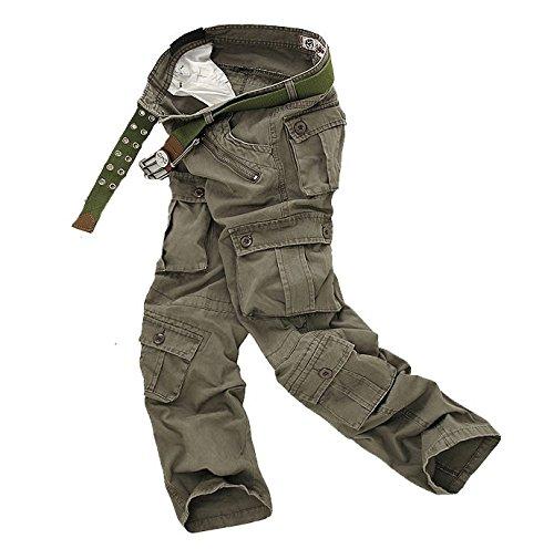 Ghope Herren Stretch Cargo-Hose ohne Gürtel Arbeitshose Bundhose Armee Camouflage Freizeithose Wasserwäsche Cargohose mehrere Tasche Armeegrün 2