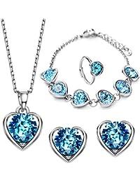 NEOGLORY Conjunto de Joya Corazón con Auden Rhinestones Azul Joya Original Mujer