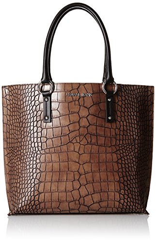 ARMANI JEANS CROCO SHOPPING BAG 9221456A711-04552 BROWN AFTER DARK